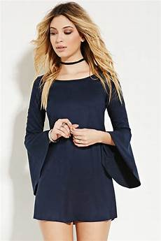 lyst forever 21 faux suede trumpet sleeve dress in blue