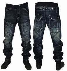 Mens Fit Designer Jeans Uk Mens Blue Kosmo Lupo Jeans Km502 Designer Cuffed Tapered