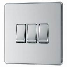 B And Q Light Switches Colours 10a 2 Way Triple Polished Chrome Light Switch