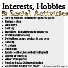 Hobby Examples Hobbies In Resumes How To List Hobbies And Interest On A