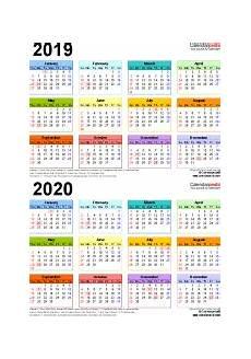 2020 16 Year Calendar 2019 2020 Two Year Calendar Free Printable Pdf Templates