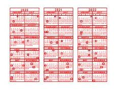 2020 16 Year Calendar 2020 2021 2022 3 Year Calendar