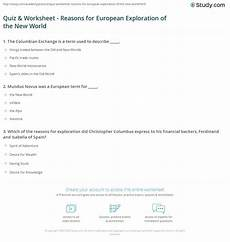 Reasons For European Exploration Quiz Amp Worksheet Reasons For European Exploration Of The