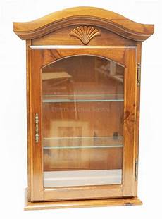hanging pine curio cabinet with glass shelves 20 inches wid