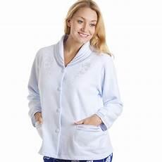 light blue button up bed jacket