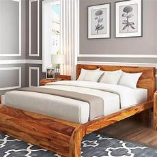 solid wood curved platform bed
