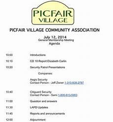 Community Meeting Agenda Picfair Village Community Assoc July Meeting Picfair