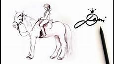pferd mit reiter zeichnen lernen mit bleistift how to
