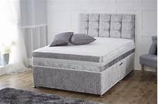 divan bed crushed velvet fabric bed memory mattress
