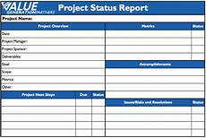 Status Report Formats Generating Value By Using A Status Report Value