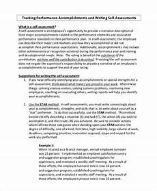Sample Self Assessment For Work Self Assessment Samples