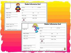 Student Information Card Template Student Information Cards Printable Worksheet With Answer