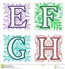Letter Desings E F G H Alphabet Letters Floral Elements Stock Vector