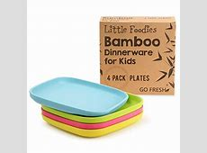 Bamboo Kids Plates, 4 Pack Set, Stackable Bamboo