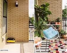before and after an eclectic balcony makeover for a much
