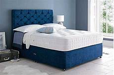 blue chenille fabric divan bed and mattress for sale