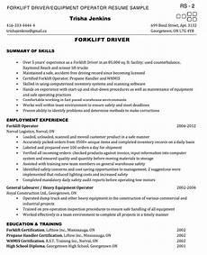 Resume For Forklift Operator Forklift Operator Resume Sample Http Exampleresumecv