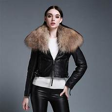 coats with genuine sheep leather jacket with raccoon fur collar