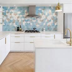 blue tile kitchen backsplash 3d blue backsplash tile modern white cabinet countertop