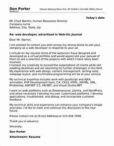 Cover Letter Sales Engineer Web Developer Cover Letter Sample