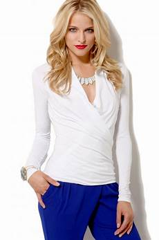lyst wrap jersey knit top in white in white