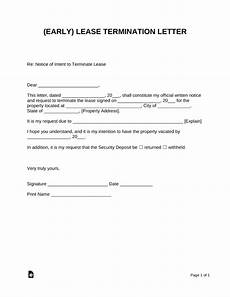 Lease Termination Template Early Lease Termination Letter Landlord Tenant Eforms