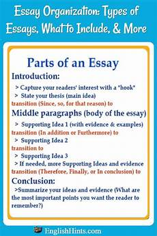 Essay Organization Types Essay Organization