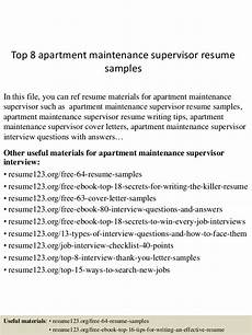 Apartment Maintenance Supervisor Resumes Top 8 Apartment Maintenance Supervisor Resume Samples