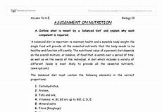 Nutrition Essays Nutrition Assignment A Level Science Marked By