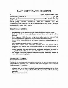 Lawn Care Contracts Samples Lawn Maintenance Contract Agreement Free Printable Documents