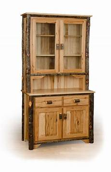 rustic hickory 2 door buffet and hutch china cabinet