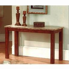 sutter sofa table cherry finish with faux marble top
