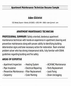 Apartment Maintenance Supervisor Resumes Free 9 Sample Maintenance Technician Resume Templates In