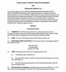 Example Llc Operating Agreement Single Member Llc Operating Agreement Template Florida