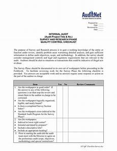 Project Management Audit Checklist Quality Control Checklist For Audit Survey