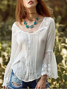 flair sleeve blouse white lace splicing neck flare sleeve blouse white