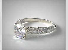 Graduated Triple Row Pave Engagement Ring   Platinum   17938P
