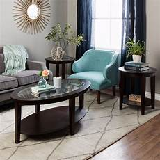 Cf Furniture Living Room 3 Set L Table by Oval Coffee Table Side Tables Set Wood Glass