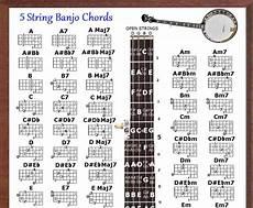 Banjo Chord Chart 5 String Banjo Chords Poster 13x19 Amp 5 Position Logo Chart