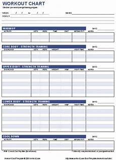 Free Weight Training Chart Free Workout Chart Printable Weight Lifting Chart Template