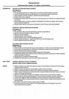 High School Teaching Resume School Teacher Resume Samples Velvet Jobs