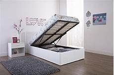 caspian ottoman gas lift up storage bed white 3ft single