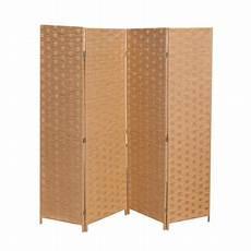 wood mesh woven design 4 panel folding wooden screen room