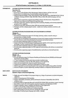 Systems Engineer Resume Junior Systems Engineer Resume Samples Velvet Jobs