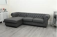empire chesterfield corner sofa in grey pu leather abreo
