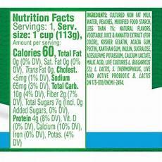 Activia Light Yogurt Nutrition Label Dannon Activia Light Peach Probiotic Nonfat Yogurt 4pk