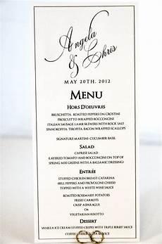 Wedding Menu Cards Wedding Menu Card Tea Length Calligraphy Style With Custom