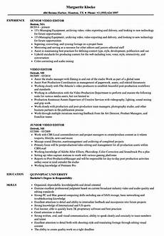 Video Editing Resume Video Editor Resume Samples Velvet Jobs