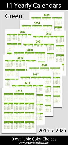 Yearly Calendar 2015 2020 2020 2015 To 2025 Yearly Calendar 8 1 2 Quot X 11 Quot Legacy Templates