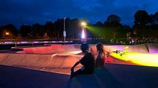 Skateparks With Lights Alingsas Skatepark Lighting Youtube